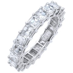 Asscher Cut Diamond Eternity Band 3.98 Carat