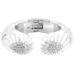 David Webb Rock Crystal and Diamond Cuff Bracelet