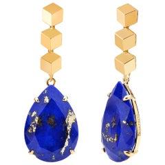 18 Karat Yellow Gold 21.85 Carat Lapis Earrings