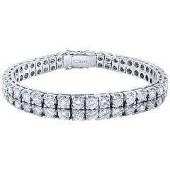 14 Karat White Gold Two-Row Diamond Tennis Style Bracelet 11 Carat