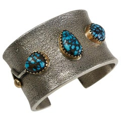 2015 Edison Cummings Lander Turquoise Sterling Silver Gold Cuff