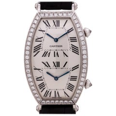 Ladies Cartier Dual Time Zone Tonneau 18 Karat White Gold & Diamonds circa 2000s