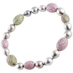 Rina Limor Tahitian Pearl 57.00 Carat Pink Sapphire 47.03 Carat Peridot Necklace
