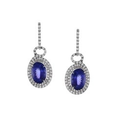 8.45 Carat Total Oval Tanzanite and Diamond Earrings in 18 Karat White Gold