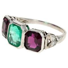 Art Deco Platinum Emerald and Almandine Garnet Ring