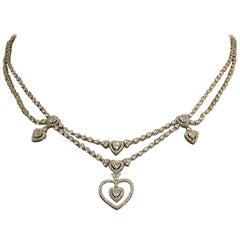 Diamond Gold Chandelier Heart Necklace