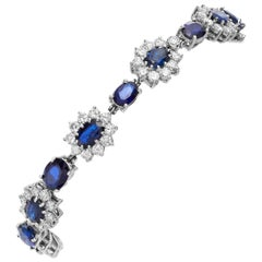 Sapphire and Diamond Cluster Bracelet in 18ct White Gold