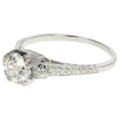 Edwardian Platinum .97 Carat Old European Diamond Cut Ring