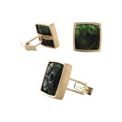 32.50 Carat Total Carved Emerald Cuff Links in 18 Karat Yellow Gold