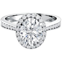 Oval Cut Diamond GIA Certified Engagement Anniversary 950 Platinum