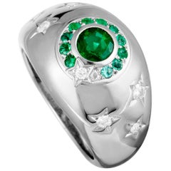 Chanel Comète Diamond and Emerald White Gold Ring
