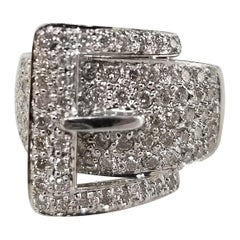 "Diamond Pave' ""Buckle"" Ring in 14 Karat"