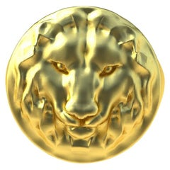 14 Karat Yellow Gold Lion Head Signet Ring