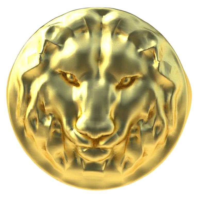 14K Yellow Gold Leo Lion Head Signet Ring For Sale