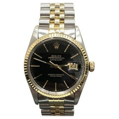 Rolex Datejust 16013 Black Dial 14 Karat Gold and Stainless Steel