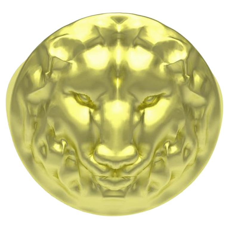 14 Karat Green Gold Lion Head Signet Ring