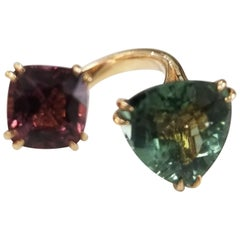Pink Spinel and Green Tourmaline Spaced Ring Set in 18 Karat Rose Gold