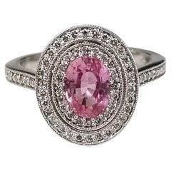 "GIA Pink ""Padparadscha"" Sapphire 1.09 Karat and Diamond Double Halo Ring"