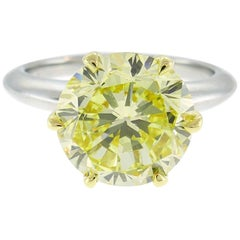 Tiffany & Co. Fancy Intense Yellow Diamond Platinum Ring 4.02-carat VVS1 GIA