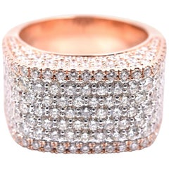 14 Karat Rose Gold Pave Diamond Ring