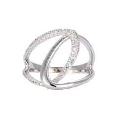 14 Karat White Gold and Diamond Ladies Fashion Ring