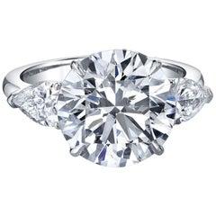 1 Carat GIA Round Cut Diamond Three-Stone Engagement in Platinum 950 Setting