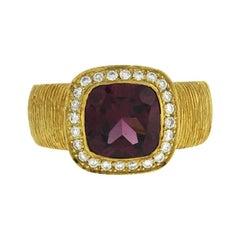 2.25 CT Pink Tourmaline & 0.26 CT Diamonds in 18K Gold Engagement Ring