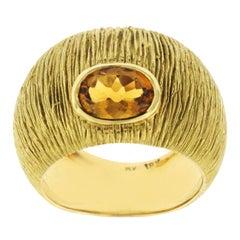 Yellow Gold 1.20 Carat Citrine 18 Karat Dome Band Ring