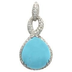 Turquoise 16 Carat Natural 1.34 Carat Diamond in 18 Karat Gold Pendant Charm