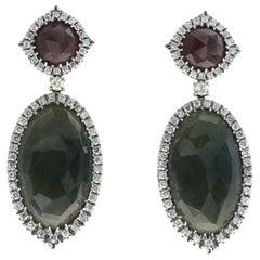 Rose Cut 37 CT Multi Sapphire 1.24 CT Diamond 18K White Gold Drop Earrings
