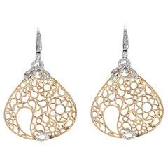 Gold 0.42 Carat G Si1 Diamonds in 18 Karat Rose and White Teardrop Drop Earrings