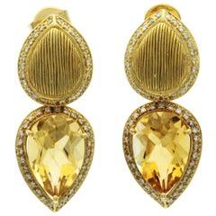 10.50 CT Citrine & 0.78 CT Diamonds in 18K Yellow Gold Teardrop Earrings