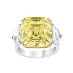 Fancy Yellow Asscher Cut GIA Diamond Engagement Platinum 950 Ring