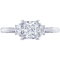 1 Carat Princess Cut GIA Diamond Three-Stone 18 Karat White Gold Ring