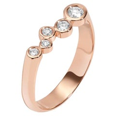 0.27 Carat White Diamond 14 Karat Rose Gold Bar Ring