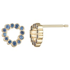 14 Karat Yellow Gold Blue Sapphire Stud Earrings