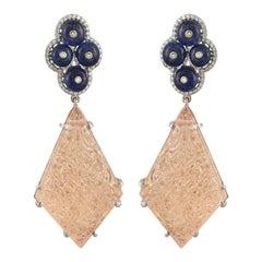 Set in 18 Karat Gold, Tanzanite, Carved Morganite and Diamond Dangler Earrings