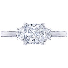 0.50 Carat Asscher Cut GIA Diamond Three-Stone 18 Karat White Gold