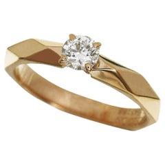 Boucheron 0.23 Carat Diamond 18 Karat Pink Gold Facet Solitaire Ring