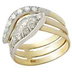 1960s Diamond and Yellow Gold Snake Ring