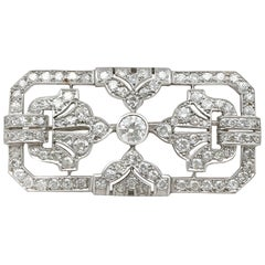 Antique French 4.53 Carat Diamond and Platinum Brooch