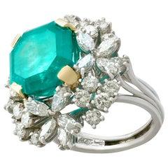 8 Carat Emerald and 3.25 Carat Diamond Platinum Cluster Ring