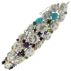Australian Pearls 18 Karat White Gold Cuff Bracelet