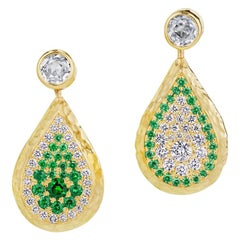 Reversible Tsavorite and Diamond Pavé Drop Earrings in 18 Karat Gold