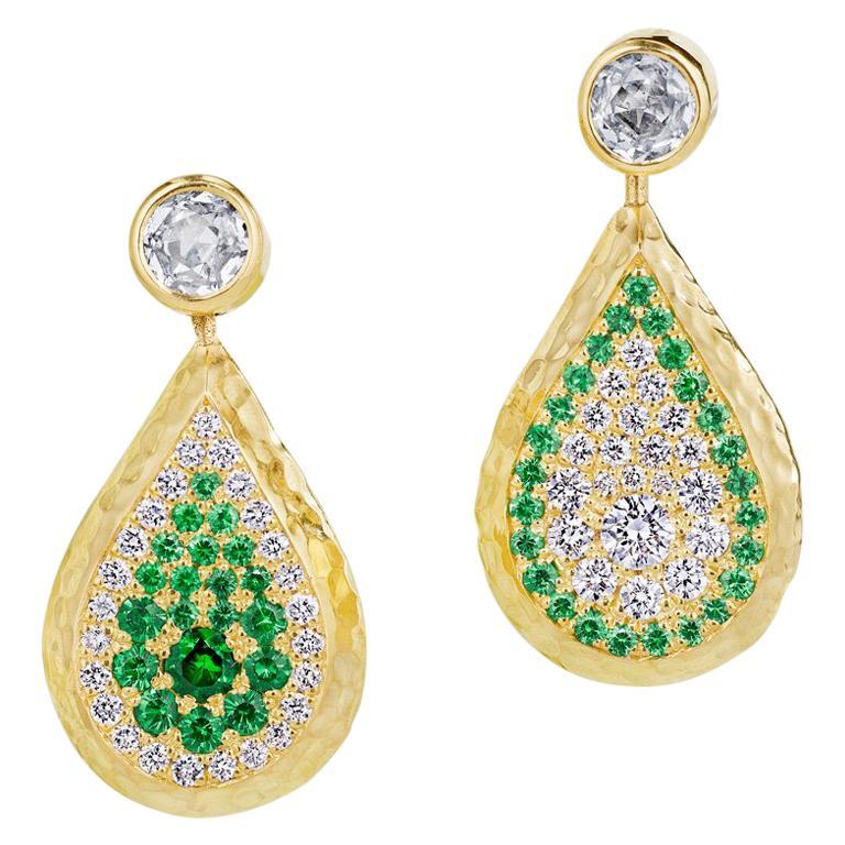 Reversible Tsavorite and Diamond Pavé Drop Earrings in 18 Karat Gold For Sale