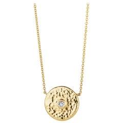 Rose Diamond and 18 Karat Gold Hammered Pendant Necklace