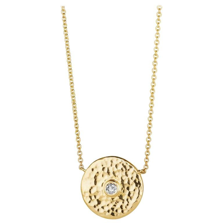Rose Diamond and 18 Karat Gold Hammered Pendant Necklace For Sale