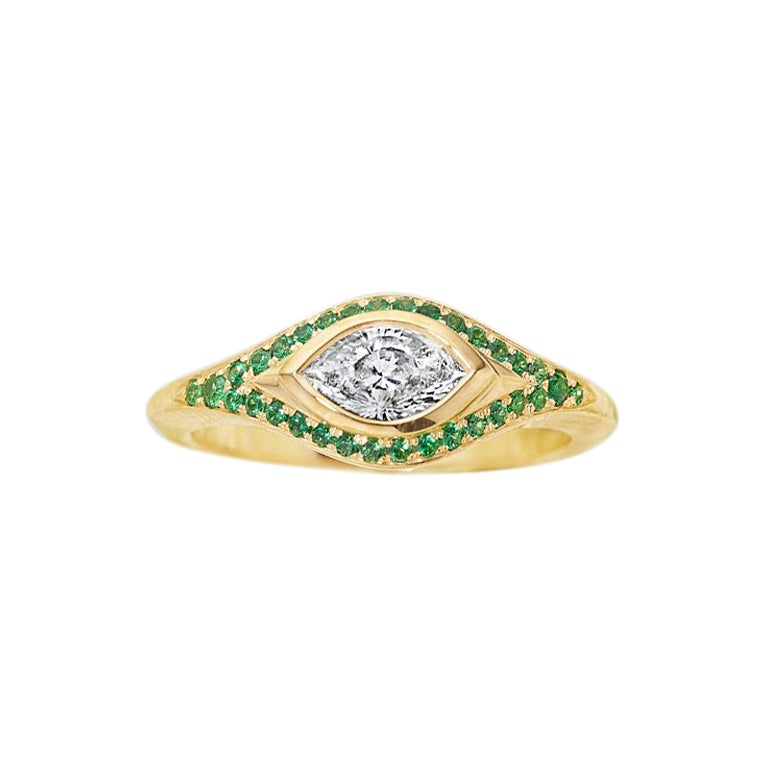 Engagement Ring with Cleaopatra's Eye Cut Diamond, and Tsavorite Pavé