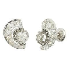 Art Deco Half Moon 1.50 Carat Diamond Platinum Earrings