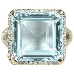 11 Carat Square Cut Aquamarine and Diamond Ring Set in White Gold
